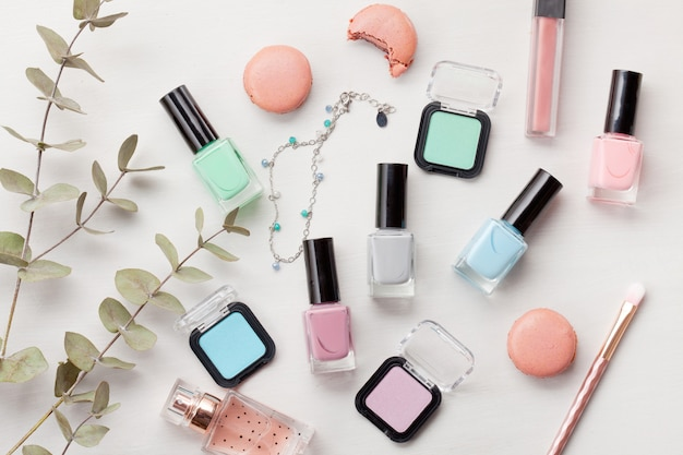 Pastel colors cosmetics. beauty blogger concept Premium Photo