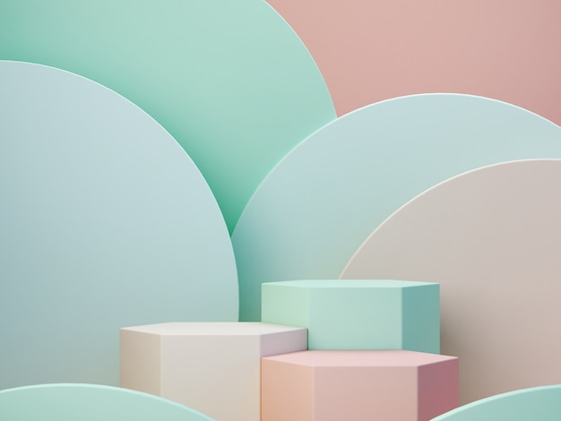 Pastel colors shapes on green pastel colors abstract background. minimal  boxes podium. scene with g