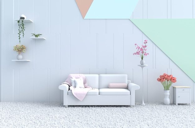 Pastel living room, sofa, wall,orchid, tulip,carpet. christmas's day, new year. 3d render Premium Photo