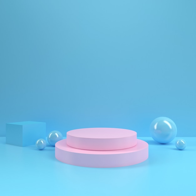 Pastel podium rectangle shape circle geometry pink blue room interior product mockup background Premium Photo