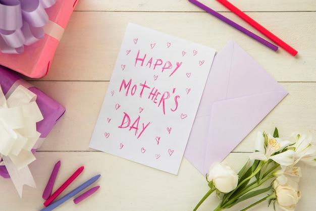 幸せな母の日のパステルポストカード 無料写真