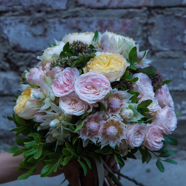 Pastel tone colored flowers bouquet Free Photo