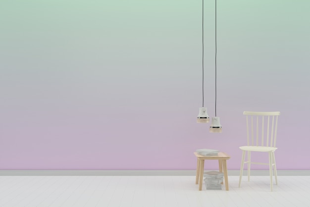 Pastel wall white wood floor background texture white chair lamp desk book Premium Photo