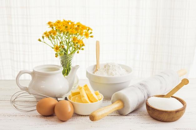 Pastry preparation ingredients Free Photo