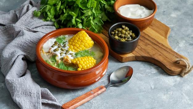 Patato soup common in colombia, cuba and peru. Premium Photo