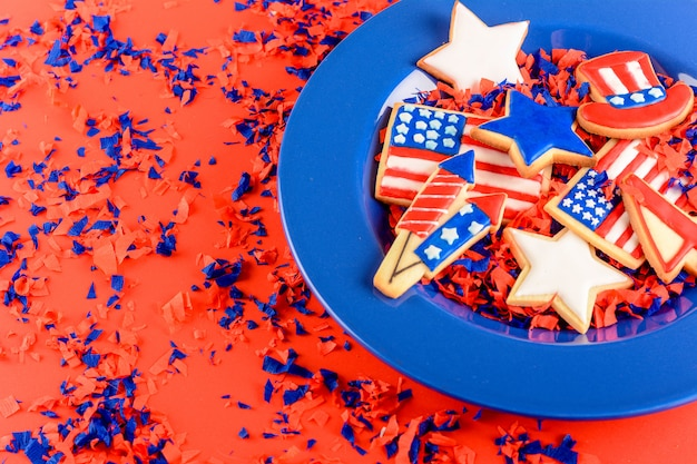 Patriotic cookies of america Premium Photo