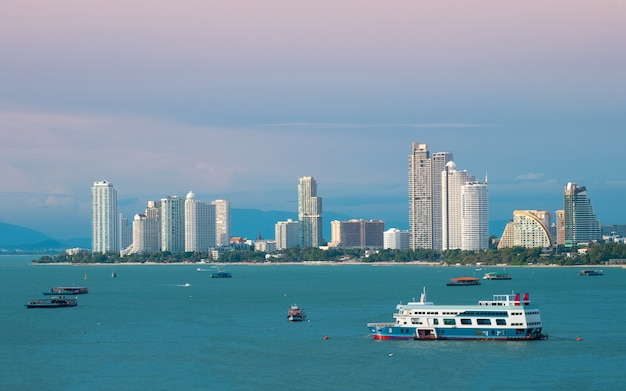Pattaya city scape beautiful bay view. Premium Photo