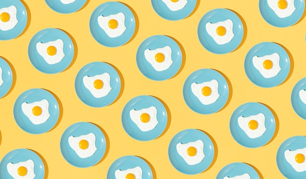 Pattern elements made with fried egg dishes Free Photo