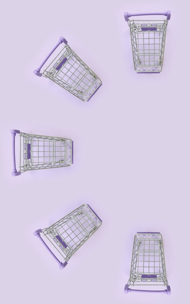Pattern of many small shopping carts on a violet background Premium Photo