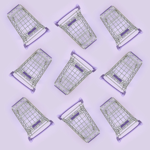 Pattern of many small shopping carts on a violet Premium Photo