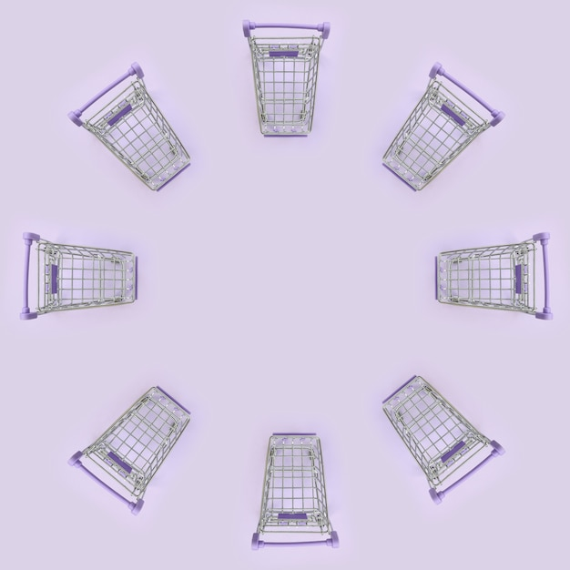 Pattern of many small shopping carts on violet Premium Photo