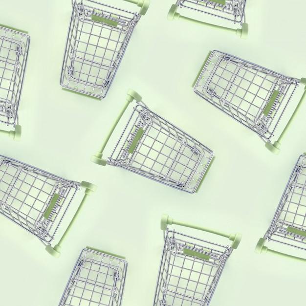 Pattern of many small shopping carts Premium Photo