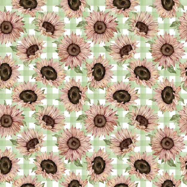 緑の格子縞の背景に水彩ひまわりのパターン。手描きの花のイラスト。 Premium写真