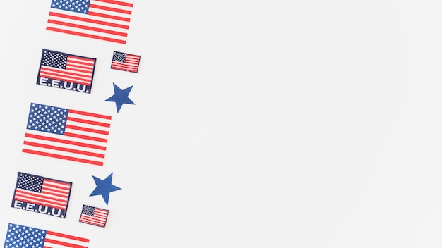 Pattern of usa flags on white background Free Photo
