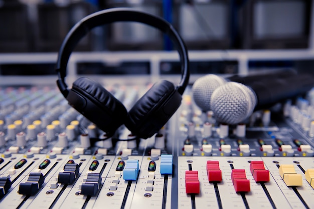 Pattern of volume slide control on professional sound mixer. Premium Photo