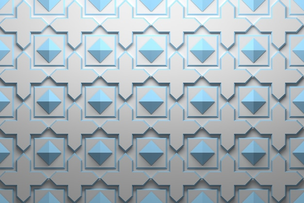 Pattern with blue geometric repeating elements Premium Photo