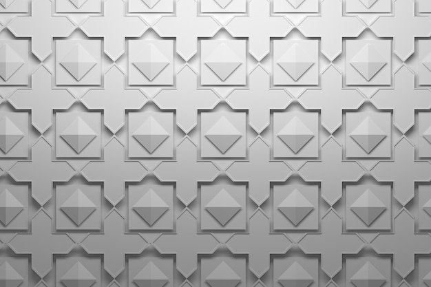 Pattern with layered repeating elements tiles - crosses, pyramids, squares Premium Photo