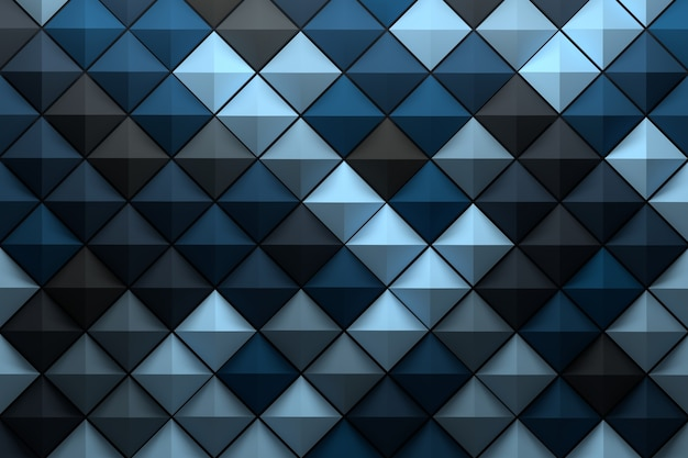 임의의 파란색 회색 음영으로 채색 된 낮은 폴리 기하학적 피라미드 타일이있는 패턴 프리미엄 사진