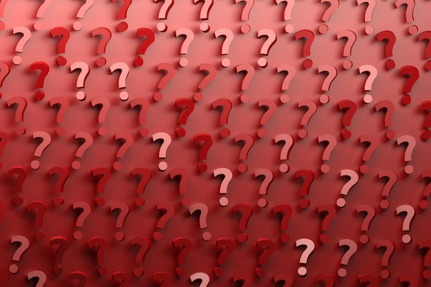 Pattern with many randomly arranged red question marks on red background. Premium Photo