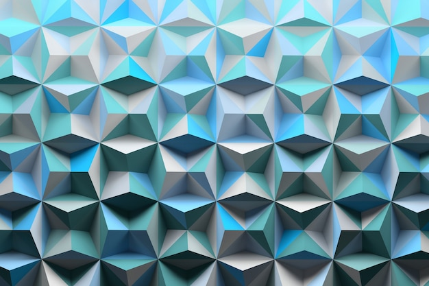 Pattern with pyramids spikes colored with random blue shades Premium Photo
