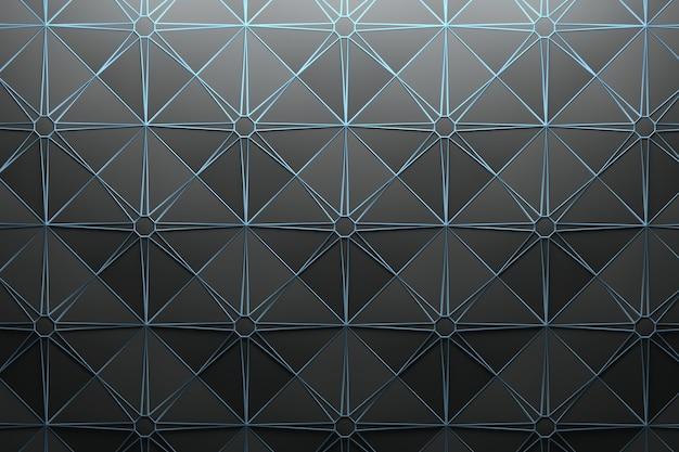 반복되는 정사각형 피라미드 타일과 별 모양의 와이어 프레임 패턴 프리미엄 사진