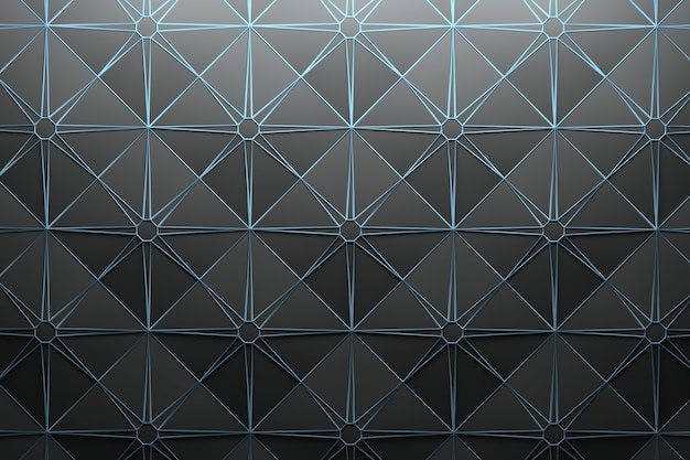 Pattern with repeating square pyramid tiles and star-shaped wire frame Premium Photo