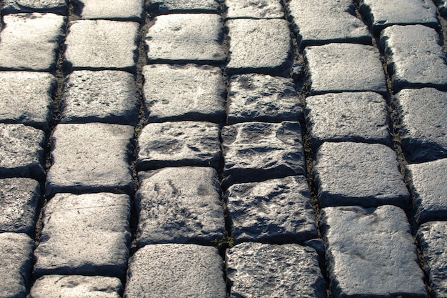 Pavement close up in the sunlight