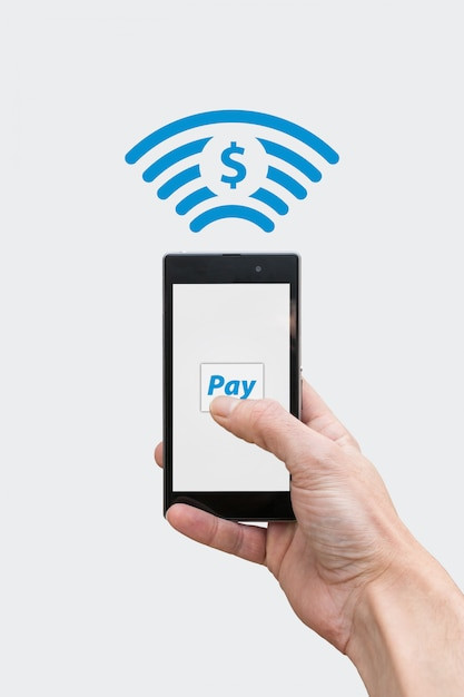 Pay with phone - dollar currency symbol Premium Photo