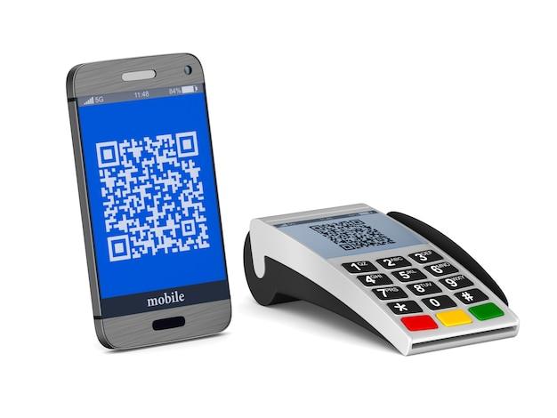 Платежный терминал и телефон на белом. изолированные 3d иллюстрации Premium Фотографии