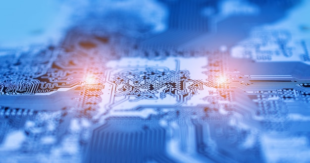 Pcb circuit board design technology background Premium Photo