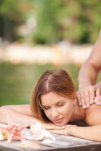Peaceful summer massage Free Photo