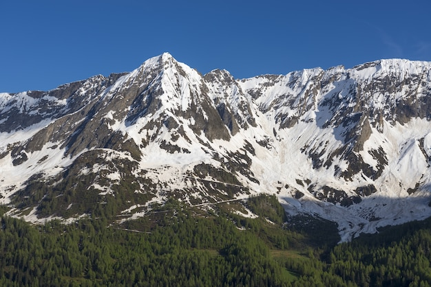 Peak of the mountains covered in snow against the blue sky in ticino, switzerland Free Photo