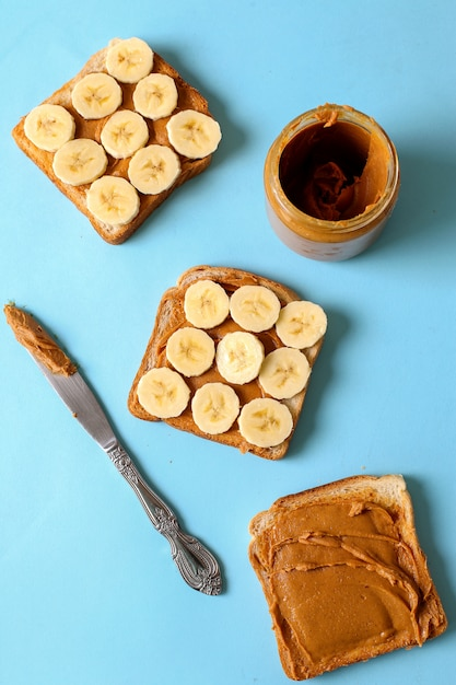 Peanut butter sandwiches with banana Free Photo