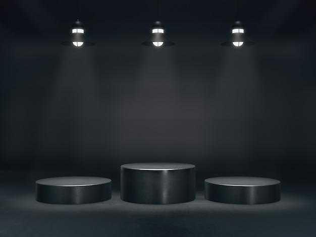 ディスプレイ用台座、デザイン用プラットフォーム、ランプの光スポットを備えた空白の製品スタンド。3dレンダリング。 Premium写真