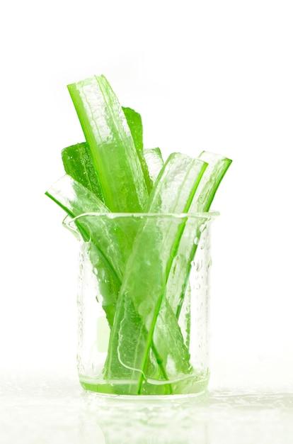 Peel aloe vera leaves shows transparency gel inside Premium Photo