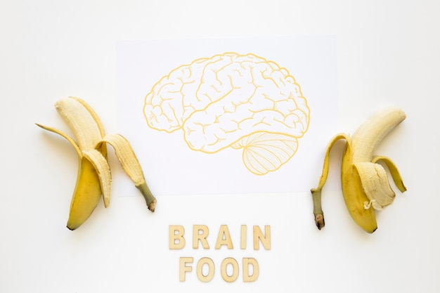 Peeled bananas near brain food words with drawing on paper Free Photo
