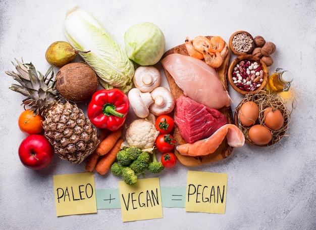Pegan diet. paleo and vegan products Premium Photo