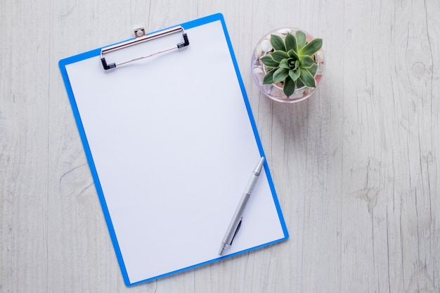 Pen and clipboard near plant Free Photo