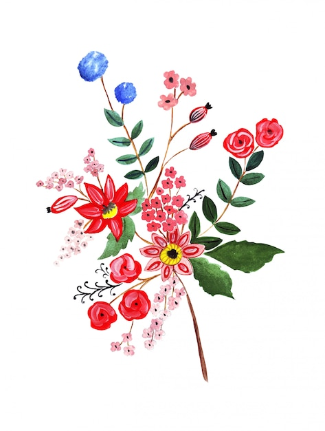 Of pencil drawing bouquet flowers in bright colors Premium Photo