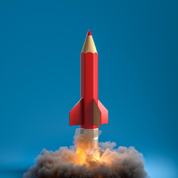 Карандаш в виде ракеты с дымом и пламенем. творчество и концепция запуска. 3d визуализация. Premium Фотографии