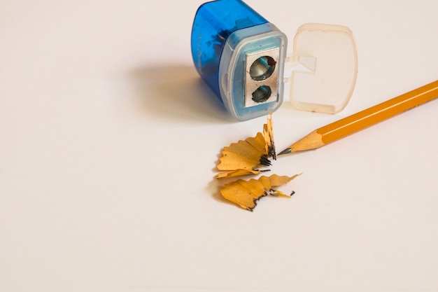 Pencil and sharpener on white Free Photo