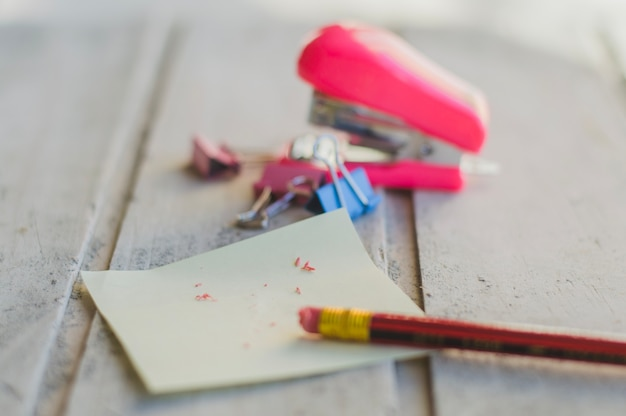 Pencil with eraser on table Free Photo