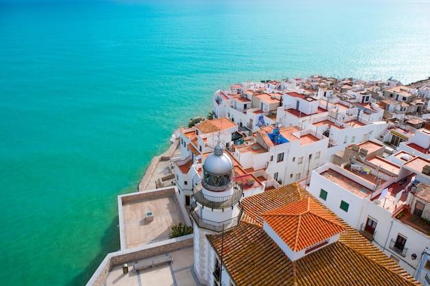 Peniscola beach and village aerial view in castellon spain Premium Photo