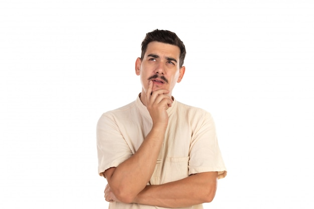 Pensive guy with moustache Premium Photo