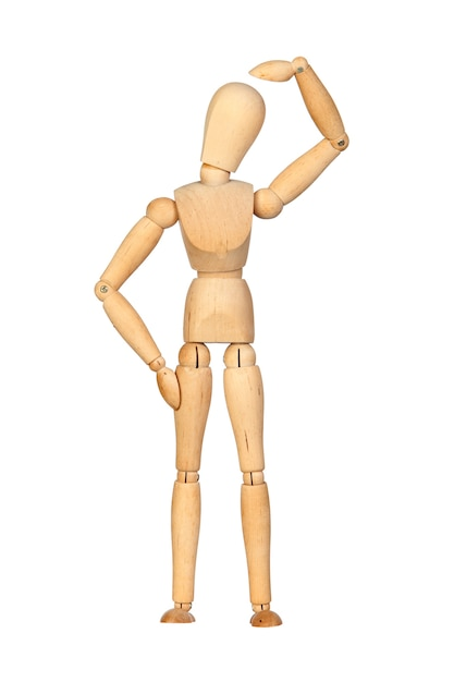 pensive jointed wooden mannequin isolated on white background photo