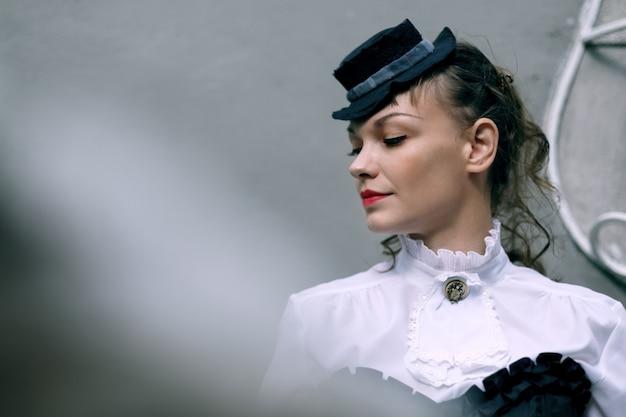 Pensive wodel dressed in victorian style Premium Photo