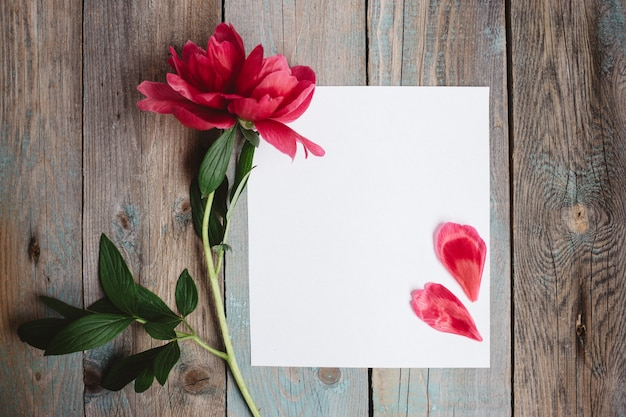 Peony flower and blank paper sheet on wooden background Premium Photo