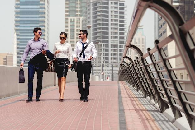 People business meeting walking at city. Premium Photo