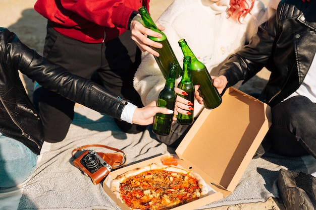 People clinking beer bottles on picnic Free Photo
