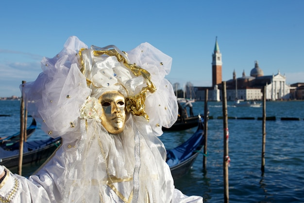 People in costume for venice carnival party Premium Photo